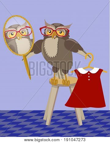 Owl trying on a dress in front of a mirror in the interior of the room, vector illustration