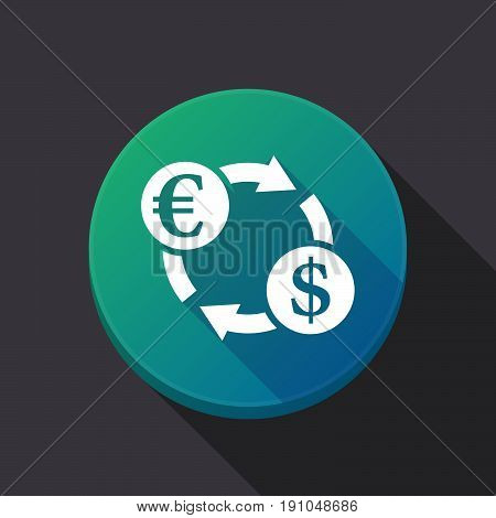 Long Shadow Button With  An Euro Dollar Exchange Sign