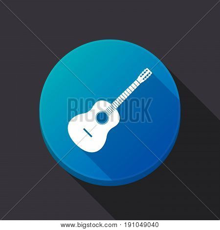 Long Shadow Button With  A Six String Acoustic Guitar