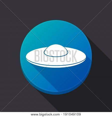 Long Shadow Button With  A Flying Saucer Ufo