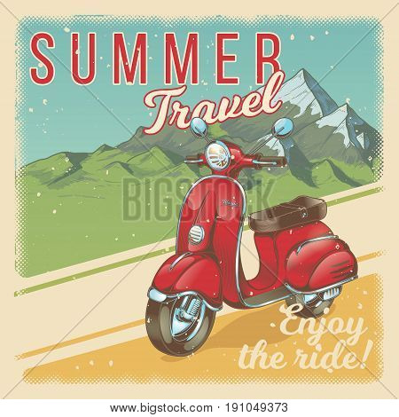 Vector illustration, poster with red vintage scooter, moped against the backdrop of the mountain landscape in grunge style. Template, design element for advertising of travel agency