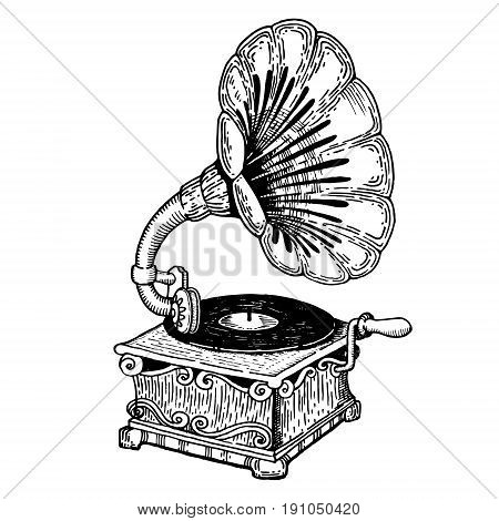 Gramophone vector illustration. Scratch board style imitation. Hand drawn image.