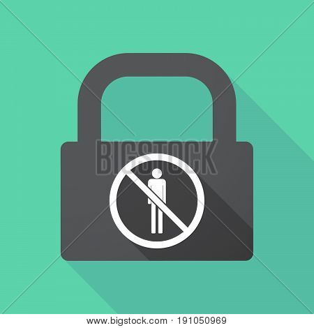 Long Shadow Lock With  A Male Pictogram  In A Not Allowed Signal