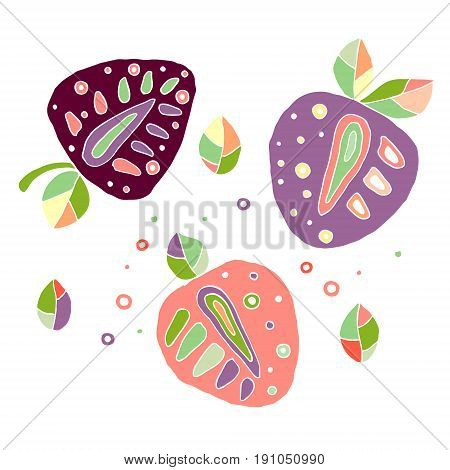 Set Of Vector Hand Drawn Childish Juicy, Fruits. Cute Childlike Strawberry, Leaves, Seeds, Drops. Do