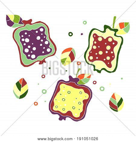 Set Of Vector Hand Drawn Childish Juicy, Fruits. Cute Childlike Pomegranate With Leaves, Seeds, Drop