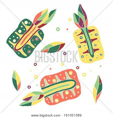 Set Of Vector Hand Drawn Childish Fruits. Cute Childlike Pineapple With Leaves, Seeds, Drops. Doodle