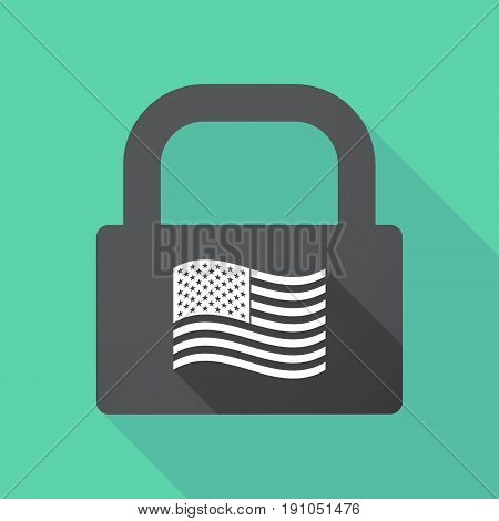 Long Shadow Lock With  The Unites States Of America Waving Flag