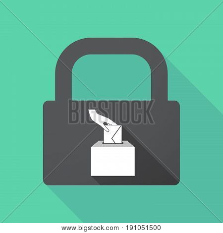 Long Shadow Lock With  A Hand Inserting An Envelope In A Ballot Box