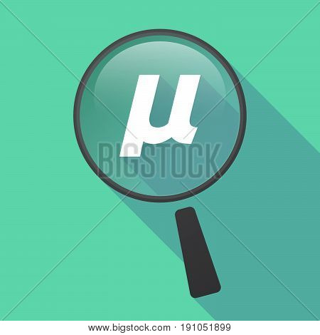Long Shadow Loupe With  A Micro Sign, Mu Greek Letter