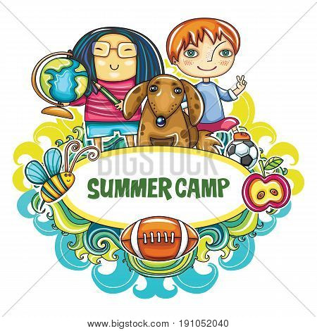 Colorful floral frame with little children and their pet dog bee football. Summer location on playground. Template for advertising brochure website banners kids party invitation summer art camp