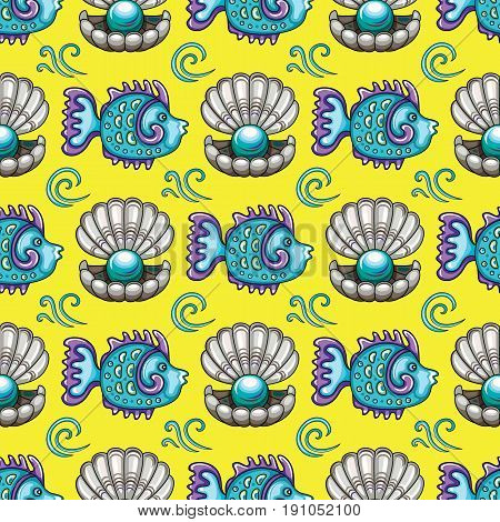 Sea travel seamless background with underwater diving animals. Cartoon tropical coral reef fish and open decorative pearl shell swirls and ocean waves. Vector doodle pattern marine summer vacation