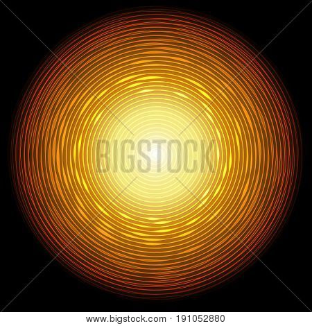 Abstract golden circle with glow light effect. Vector illustration