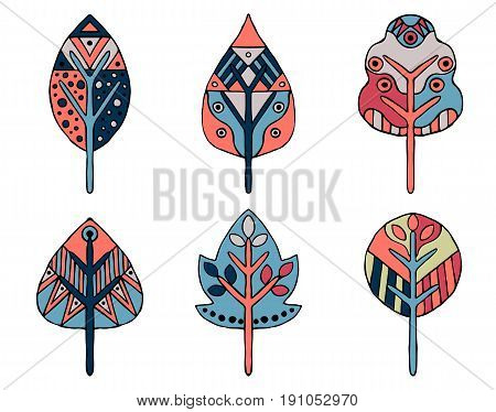 Set Of Vector Hand Drawn Decorative Stylized Childish Leaves. In Pink, Blue Colors Doodle Style, Gra