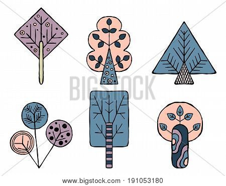 Set Of Vector Hand Drawn Decorative Stylized Childish Trees. Doodle Style, Graphic Illustration. Orn