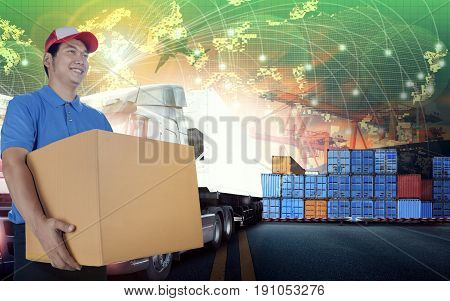 delivery man and card box and world wide logistic shipping business background