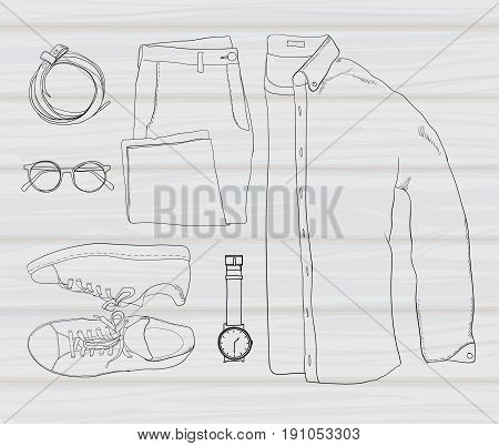 Vector illustration of Hand drawn and doodle of top view, flat lay coordination folded shirt with t-shirt, trousers, shoes, spectacles, clock and belt. Mens set on wooden background. Template for brochure, journal, flayer with trend design.