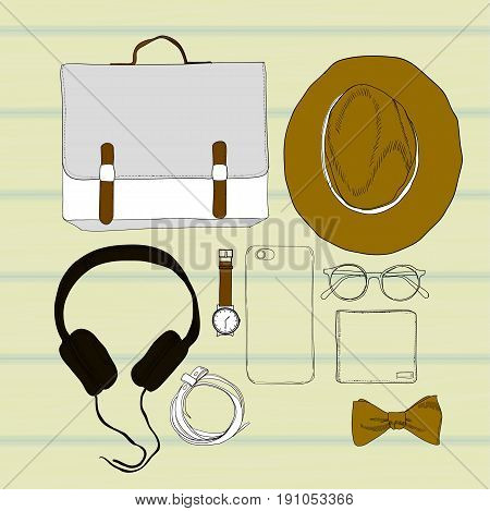 Vector illustration of colorful Hand drawn and doodle of top view, flat lay with Accessories spectacles, clock, hat, phone, briefcase, headphones and belt. Mens set on wooden background. Isolated objects for brochure, journal, flayer of hipster design.