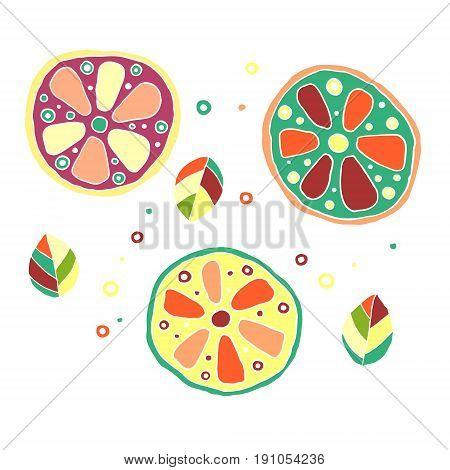 Set Of Vector Hand Drawn Childish Juicy, Fruits. Cute Childlike Lime, Orange, Lemon, Grapefruite, Le