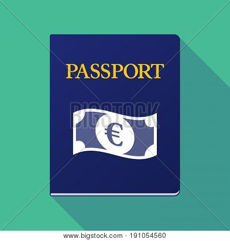 Long Shadow Passport With  An Euro Bank Note