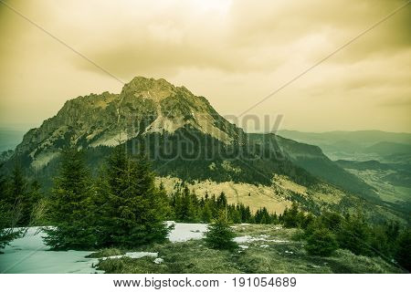 A Beautiful Rozsutec Mountain View Of Mala Fatra In Slovakia. Warm Summer Haze, Artistic, Colorful,