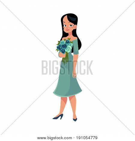 Beautiful woman, girl, bride with long black hair holding bunch of roses, cartoon vector illustration isolated on white background. Full length portrait of happy girl, woman with bunch of rose flowers