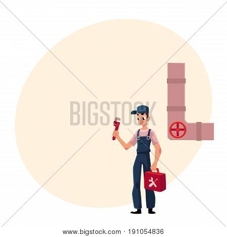 Plumbing specialist holding wrench and toolbox, ready to repair a sewer pipe, cartoon vector illustration with space for text. Plumber, plumbing specialist, repairman with wrench a toolbox