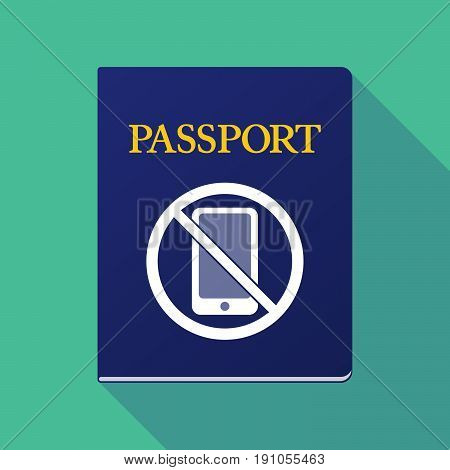 Long Shadow Passport With  A Phone  In A Not Allowed Signal