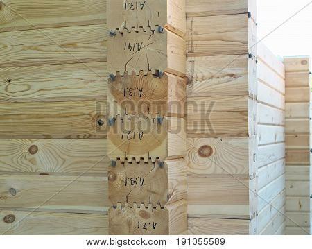 detail of ecological wooden house from beam timber construction.