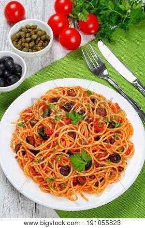 Spaghetti Alla Puttanesca With Capers, Top View