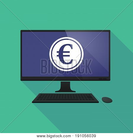Long Shadow Computer With  An Euro Coin
