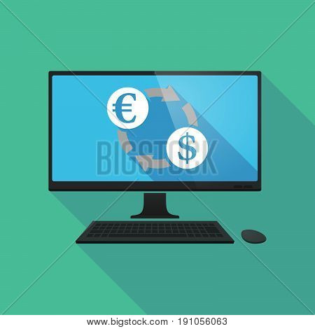 Long Shadow Computer With  An Euro Dollar Exchange Sign