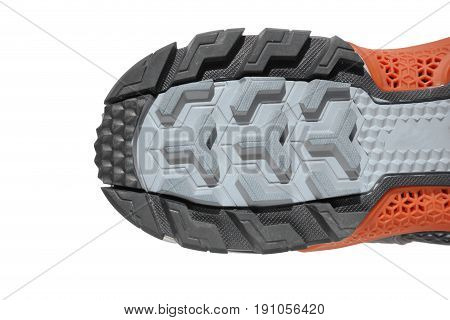 Heel of running shoe sole isolated on white