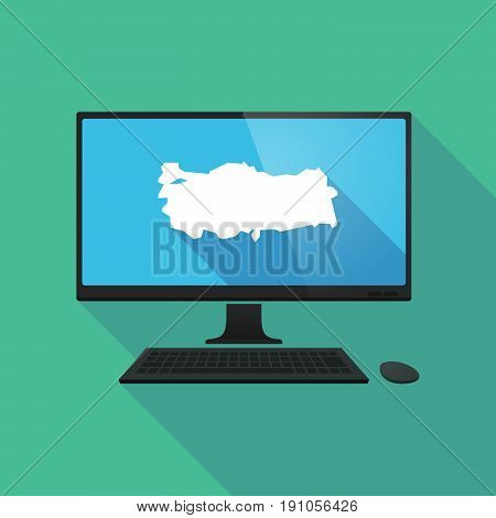 Long Shadow Computer With  A Map Of Turkey