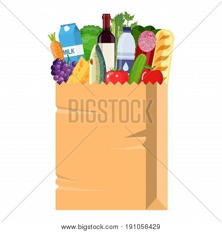 Paper shopping bag full of groceries products. Grocery store. vector illustration in flat style