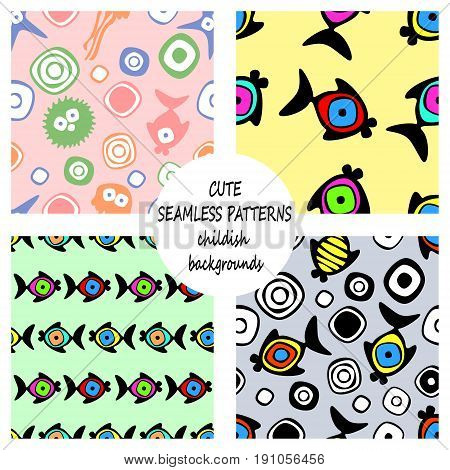Set Of Vector Seamless Decorative Pattern With Hand Drawn Fish, Starfish, Octopus. Cute Childlike Ba