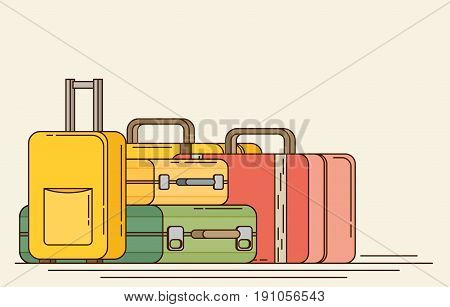 Baggage, Luggage, Suitcases On Background. Flat Style Vector Illustration.