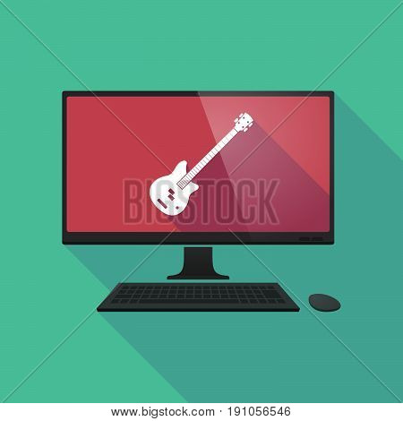 Long Shadow Computer With  A Four String Electric Bass Guitar