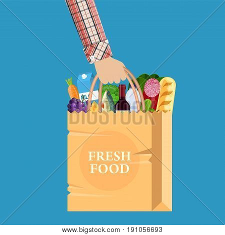 Paper shopping bag full of groceries products in hand. Grocery store. vector illustration in flat style
