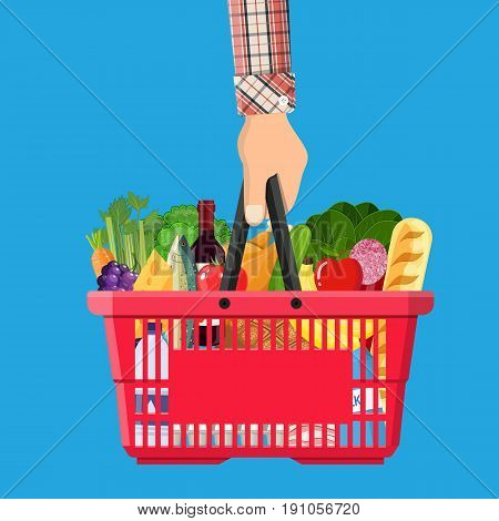 Red plastic shopping basket full of groceries products in hand. Grocery store. illustration in flat style