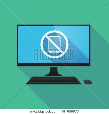 Long Shadow Computer With  A Tablet Pc  In A Not Allowed Signal