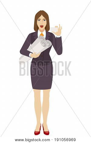 Businesswoman holding the project plans and showing the business card. Full length portrait of businesswoman character in a flat style. Vector illustration.