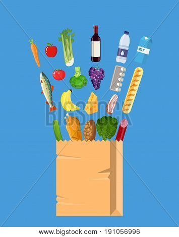 Fresh healthy produce and paper shopping bag. Organic natural products. Grocery. including meat fish, salad, bread, milk products. illustration