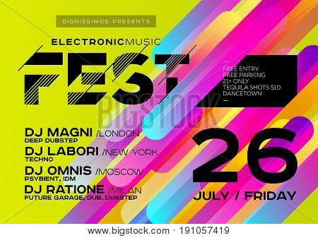 Bright DJ Poster for Open Air. Electronic Music Cover for Summer Fest or Club Party Flyer. Colourful Green Background with Trendy Geometric Shapes. A4 Horizontal orientation. Techno Dub Dubstep.