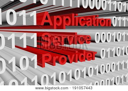Application service provider in the form of binary code, 3D illustration