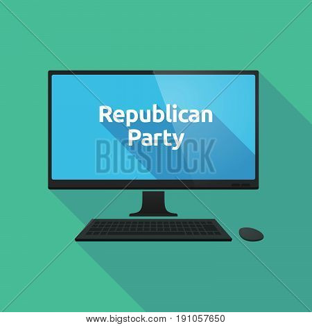 Long Shadow Computer With  The Text  Republican  Party