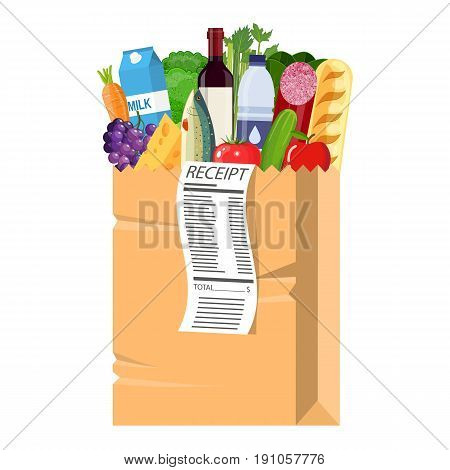 Paper shopping bag full of groceries products with receipt. Grocery store. vector illustration in flat style