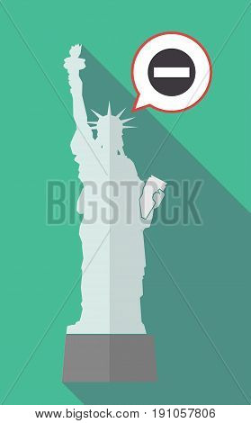 Long Shadow Statue Of Liberty With  A No Trespassing Signal