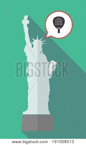 Long Shadow Statue Of Liberty With  A Paddle Racket