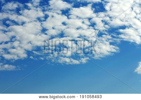 Natural background skyscape and clouds blue heaven with sunlight