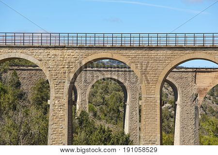 Old brick stone bridges. Teruel Aragon. Spain. Civil work